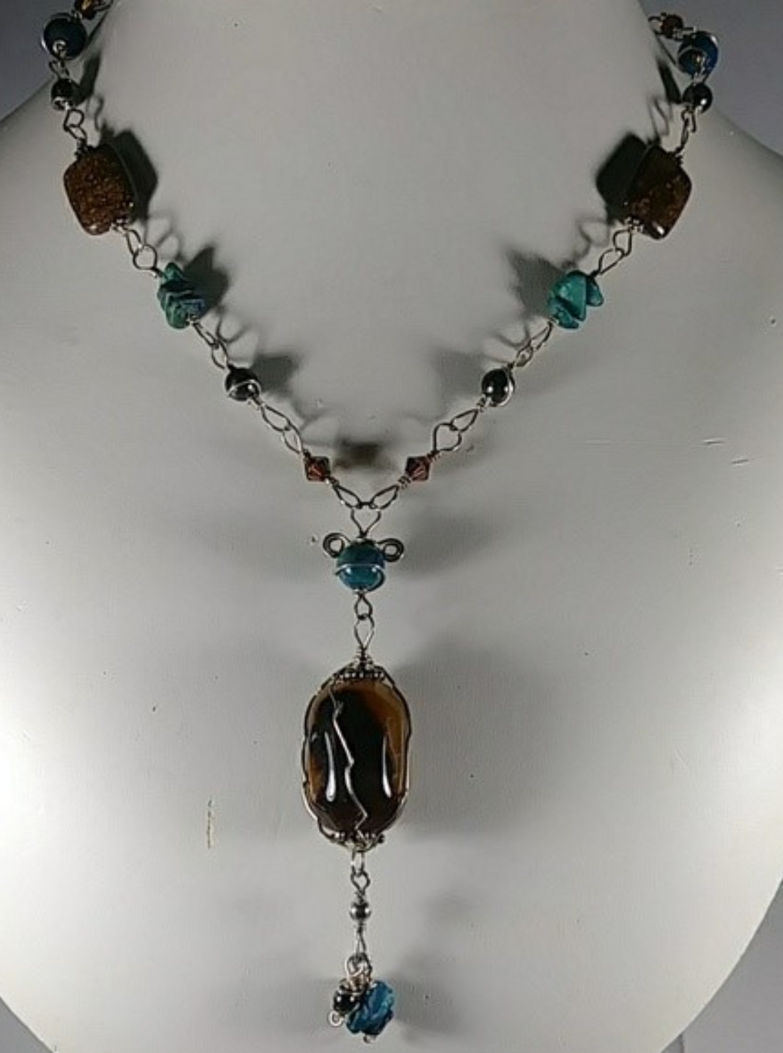 (301 -NCK) - Description: Sterling Silver Wire Chain, Various Gemstones, Wood and Crystal Beads, Carnelian Focal Bead. - Dimension: 28' L (Inches)