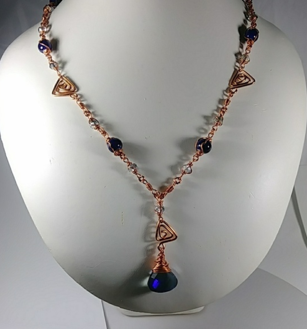 (303 -NCK) - Description: Copper Wire and Lapis Glass Beads Faceted Glass Beads). Hook Closure - Dimension: 29 Inches (L)