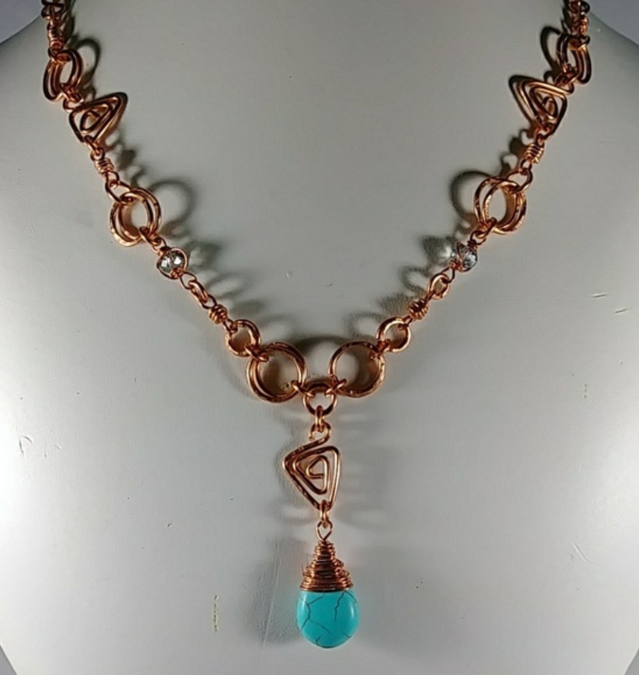 (305-NCK) - Description: Copper Wire, Beads, Turquoise Howlite (Gemstones) , Faceted Glass Beads, Hook Closure - Dimension: 24 Inches (L)