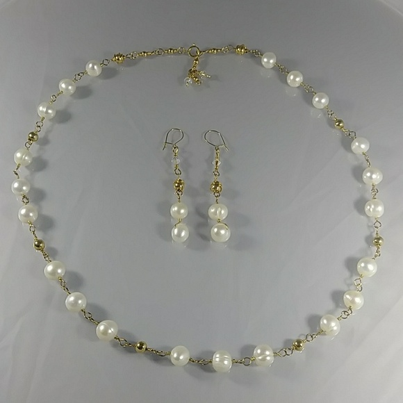 (300 -NCK) - Description:  Genuine Pearl Beads, Swarovski AB Crystals, 14kt Gold Wire, Beads, Closure and Earwire - Dimension:  Necklace 20 3/4 Inches (L)- Earrings 2 1/4 Inches (L)